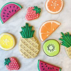 Tropical fruit cookies/biscuits. We love the orange, watermelon and pineapple!