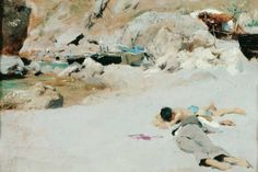 John-Singer-Sargent-American-born-Italy-1856-1925-Two-Boys-on-a-Beach-with-Boats-1878.-Oil-on-panel.-The-Society-of-Swedish-Literature-in-Finland.jpg (956×640)
