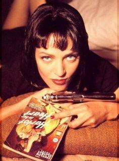 Uma Thurman as Mia Wallace at Pulp Fiction, John Malkovich, John Travolta, Quentin Tarantino, Tarantino Films, Uma Thurman Poison Ivy, Uma Thurman Kill Bill, Mia Wallace, Pulp Fiction Costume, Uma Thurman Pulp Fiction