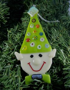 Fused Glass Christmas Ornament  Elf by lazydogarts on Etsy, $23.95
