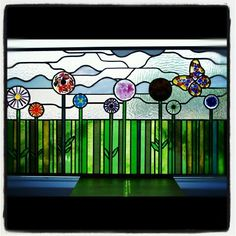 Leaded Light panel with fused glass flowers