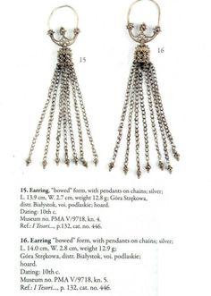 "Silver temple rings found in Góra Strękowa, Poland. Culture: Slavic (West Slavs - early Polish state / Piast dynasty) Timeline: c. 10th century Source: ""Skarby wieków średnich"" exhibition album, 2007."