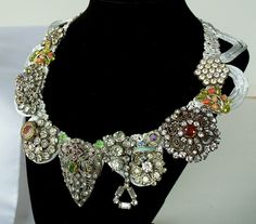 Rhinestone fashion necklace on silk ribbon, upcycled vintage jewelry, OOAK, bridal, formal occasions