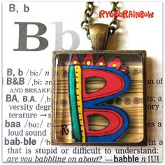 Alphabet  necklace Art jewelry  ORIGINAL by RyokoRainbow on Etsy