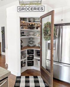 Kitchen Pantry Design, Kitchen Redo, Home Decor Kitchen, Home Kitchens, Kitchen Remodel, Farm Kitchen Ideas, Kitchen With Corner Pantry, Kitchen Tools, Corner Pantry Cabinet