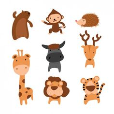 Coloured animals collection free vector stickerline animal d