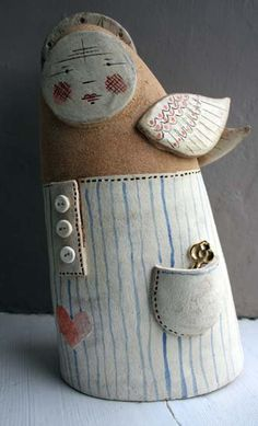 Handmade ceramic Angel sculpture - Peter in his nightshirt - limited edition. £280.00, via Etsy.