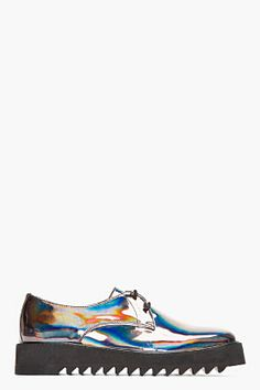 Surface To Air Gunmetal Iridescent Leather Asteroid Derbys for men | SSENSE