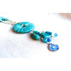 Turquoise Long Pendant Necklace, statement necklace Southwestern... ($46) ❤ liked on Polyvore featuring jewelry, necklaces, turquoise statement necklace, bohemian necklaces, turquoise bead necklace, turquoise necklace and beaded tassel necklace