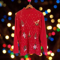 Ugly Christmas Sweater Tacky Christmas Sweater Holiday Sweater Red Sweater Mock Neck Sweater Hipster Clothing Hipster Clothes Winter