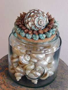 Your place to buy and sell all things handmade Seashell Bathroom Decor, Blue Bathroom Decor, Seashell Crafts, Bath Salts, Recycled Glass, Diy Painting, Glass Jars, Sea Shells, Recycling