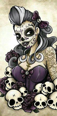 Risultati immagini per beautiful skull tattoos for women Sugar Skull Mädchen, Sugar Skull Artwork, Sugar Skull Tattoos, Sugar Skull Drawings, Skull Candy Tattoo, Sugar Skull Images, Sugar Skull Wallpaper, Pixel Tattoo, Body Art Tattoos