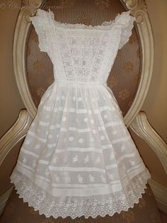 Beautiful, antique Victorian embroidered Broderie Anglaise and lace baby gown.
