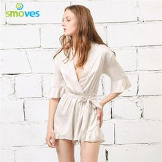f6be49c10f5 Smoves New Woman Relax Loose Fit Deep V Neck Sleeve Silk Ruffled Romper  Satin Playsuit Casual Jumpsuits S-XL Tan Peach Black