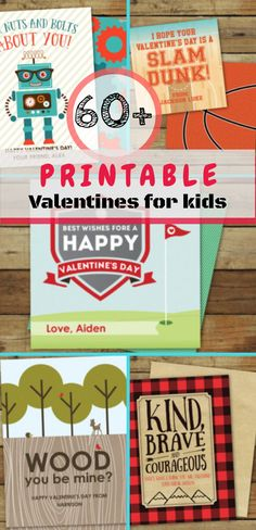 Over 60 printable Valentine's for kids. Looking for quick and easy Valentine's for your kids? Check out these easy Valentine's day  printables that classmates will love! They even have themed Valentine's for little boys and girls to celebrate! #valentines #printables #valentinesforkids #valentinescrafts #ad
