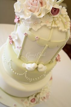 Delivered Saturday to Hawkwell House, Oxfordshire. Bird Cage Cake, Cotton And Crumbs, Shabby Chic Cakes, Cake Pictures, Cake Pics, Mom Cake, Bird Cakes, Piece Of Cakes, Pretty Cakes