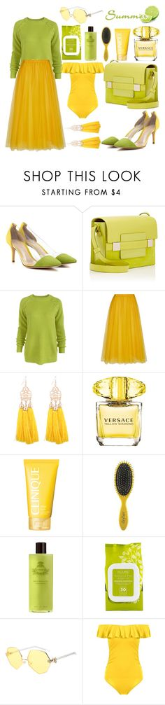 """""""Green"""" by nerma10 ❤ liked on Polyvore featuring Gianvito Rossi, Delvaux, Rochas, Versace, Clinique, Drybar, Agraria, Acure and Martha Stewart"""