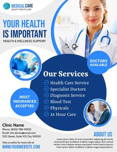 health flyer templates, health advertisements, doctor ads, health clinic service flyers, small business flyers. Health And Wellness, Health Care, Business Flyers, Advertising, Ads, Blood Test, Medical Care, Flyer Template, Lorem Ipsum