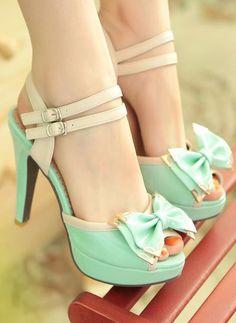 Mint bow heels..i like this - I Love Fashion
