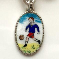 Rare Vintage Silver & Enamel Oval Soccer Player Boy by eCharmony