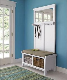 cratebarrel white small entryway benches with storage   Coat rack with storage, Small entryways and Entryway hall ...