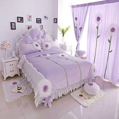 Norson Cute Girls Bedding Set Queen Size Korean White Lace Ruffle Bedding Set 3PCSPurple Twin -- Check this awesome product by going to the link at the image.