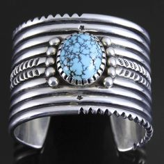 Wright's Indian Art: Large, Natural #8 Mine Turquoise, Sterling Silver Cuff by Lyndon Tsosie