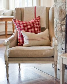 Chair with vintage linens and plaid pillow from Bainbridge Blues . . .