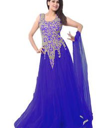 Buy BLUE gujarat NET semi stitched party-wear-gowns party-wear-gown online