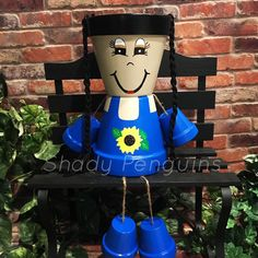 Excited to share this item from my shop: Sunflower Flower Pot People with hair girl/ flower pot/ indoor decor/ outdoor decor/ garden statue/ birthday gift/ fall decor Flower Pot People, Clay Pot People, Sunflower Flower, Clay Pot Crafts, Craft Show Displays, Garden Statues, Clay Pots, Custom Paint, Fall Crafts