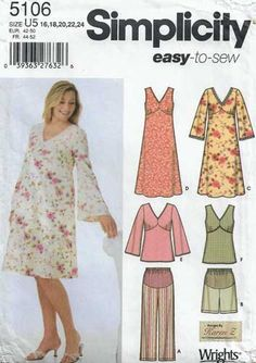 Simplicity 5106 Size Maternity Dress or Tunic and Cropped Pants or Shorts Sewing Pattern 2005 Uncut by LadybugsandScorpions on Etsy Maternity Sewing Patterns, Tunic Sewing Patterns, Sewing Patterns For Kids, Dress Patterns, Sewing Ideas, Maternity Jumpsuit, Maternity Tops, Maternity Dresses, Jumpsuit Pattern