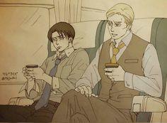 Erwin and Levi / Artist: Levi X Petra, Levi And Erwin, Attack On Titan Fanart, Attack On Titan Ships, Levi Ackerman, Rivamika, Eruri, Cute Anime Guys, Fandom