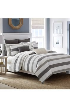 Free shipping and returns on Nautica 'Chatfield' Comforter & Shams at Nordstrom.com. Bold, yarn-dyed stripes pattern a smooth cotton comforter stitched with a solid contrast reverse and accompanied by a pair of coordinatingshams fora bedroom set that exemplifies understated sophistication.