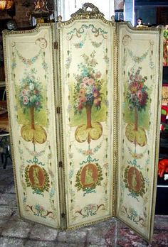 9 Creative Tips and Tricks: Room Divider Mirror Shabby Chic sliding room divider pantries. Decor, French Decor, Fabric Room Dividers, Vintage Room, Hand Painted Furniture, Decorative Screens, Folding Screen, Screen Painting, Victorian