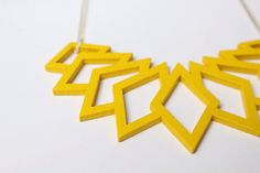 yellow statement necklace geometrical pendant wood by ShopKoo