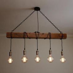 Handmade Rustic Wooden Chandelier – Wood Beam Industrial Pendant Lamp - All For Decoration Lampe Industrial, Industrial Chandelier, Rustic Lamps, Rustic Lighting, Rustic Industrial, Home Lighting, Pendant Lamps, Industrial Lighting, Industrial Hanging Lights