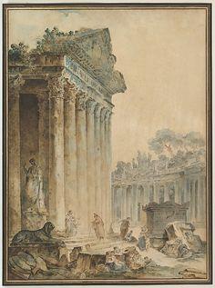 Hubert Robert | Capriccio with an Ancient Temple | The Met