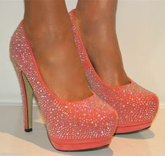 LADIES CORAL RHINESTONE PLATFORM SHOE STILETTO HEELS PROM EVENING SIZES 3-8 on Wanelo