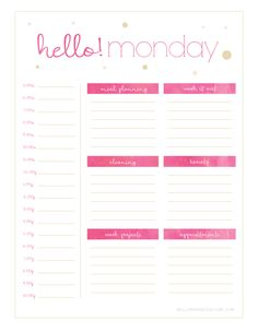 Free Hello {Monday - Sunday} Weekly Planner Printables