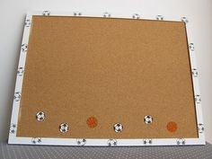 Decorative Memo Cork Board sport theme Soccer and by Shellyka