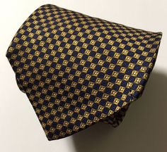 BROOKS BROTHERS GOLD NAVY CLASSIC GEOMETRIC 100% SILK NECK TIE MADE IN USA #BrooksBrothers #Tie