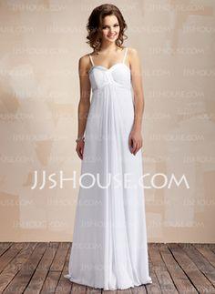 Empire Sweetheart Floor-Length Chiffon Charmeuse Wedding Dress With Ruffle (002011568)