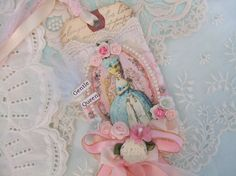 Marie Antoinette Gift Tag Pink Aqua Collage by underthenightmoon