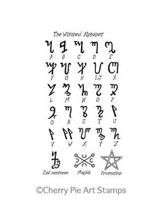 This The Witches Alphabet (Theban)- CLING rubber STAMP by Cherry Pie is just one of the custom, handmade pieces you'll find in our stamps shops. Witchcraft Symbols, Witch Symbols, Witchcraft Spell Books, Magic Symbols, Symbols And Meanings, Wiccan Spells, Vampire Symbols, Magick, Occult Symbols