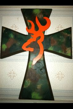 Camo & Browning wooden cross.