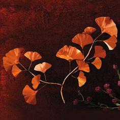 Copper Gingko Branch Wall Art