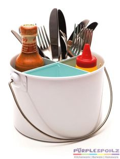 NEW RETROKITCHEN ENAMEL CUTLERY CADDY Utensil Carrier Container 3 COLOURS | eBay