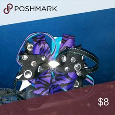 Sold Bling boutique style hair bow Boutique style hair bow black, turquoise, purple ,silver and white handcrafted. handcrafted Accessories Hair Accessories