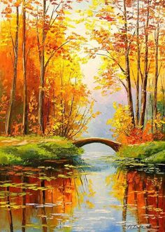 Bridge in the autumn forest Paintings Impressionism Botanical Landscape Nature Canvas Oil Painting By Olha Vyacheslavovna Darchuk Susanne Halbig susannehalbig … Forest Painting, Autumn Painting, Oil Painting On Canvas, Canvas Art, Body Painting, Bridge Painting, Beach Canvas, Knife Painting, Diy Canvas