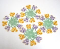 Set of 4 Small Vintage Hand Crocheted Doilies by TheWhistlingMan
